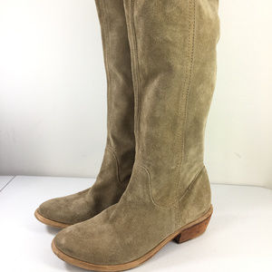 Bronx 39 9 Tan Brown Suede Leather knee High boots